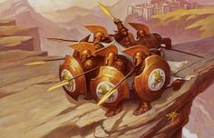 m Fighters Royal Guards LG Akroan Phalanx - Art by Steve Prescott Fantasy Warrior, Greek Warrior, Fantasy Rpg, Fantasy World, Character Creation, Character Concept, Character Art, Character Design, Fantasy Concept Art