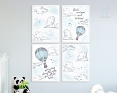 Hot air balloon Nursery prints, Have courage, You will be loved, Boy nursery, Blue print, Blue and grey decor, Clouds print, Sky, Printable