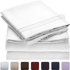 Mellanni Bed Sheet Set - Brushed Microfiber 1800 Bedding - Wrinkle, Fade, Stain Resistant - Hypoallergenic - 4 Piece (Queen, White) -- Read more at the image link. (This is an affiliate link) #HomeKitchen