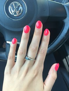 Hot pink red acrylic nails