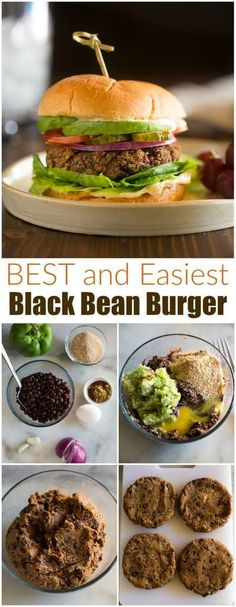 The BEST Black Bean Burger is made with fresh ingredients and is totally FOOL PROOF. This healthy recipe is fast and easy for a quick dinner idea. via Recipes fast The BEST Black Bean Burger Burger Recipes, Vegetarian Recipes, Cooking Recipes, Healthy Recipes, Burger Ideas, Oats Recipes, Beste Burger, Black Bean Burgers, Black Burger