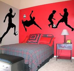 Simple Silhouettes on vibrant colors. LOVE this one. Could do each wall a different sport if the boys like more than 1 sport.