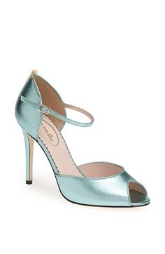 SJP by Sarah Jessica Parker 'Ursula' Open Toe d'Orsay Metallic Leather Pump available at #Nordstrom
