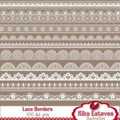 Lace Borders Digital Clipart / Scrapbooking card by kikaesteves