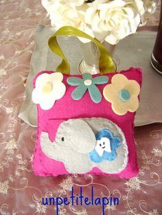 Cute Girls Pink  Elephant Tooth Fairy Pillow Treasury Item. $10.00, via Etsy.