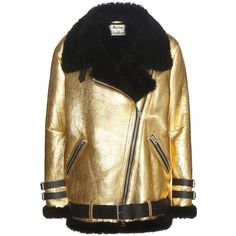 Acne Studios 'Velocite' Shearling Jacket (2.008.945 CLP) ❤ liked on Polyvore featuring outerwear, jackets, coats, gold, acne studios jacket, acne studios and shearling jacket