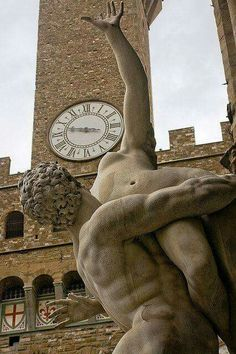 Bell tower clock at Palazzo Vecchio in Florence, Italy and the statue of The Rape of the Sabine Women by Flemish Sculptor, Giambologna Firenze, Italy. Photo by Dmitry Shakin. Siena, Verona, The Beautiful Country, Beautiful Places, Art Du Monde, Renaissance, Firenze Italy, Time In The World, Sculpture