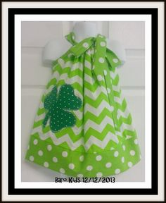 Sale was 21 now 18 Custom Made Pillowcase Dress-Available sizes 4T to 8 years old -Lime Chevron with Shamrock Applique-St. Patrick's Day on Etsy, $18.00