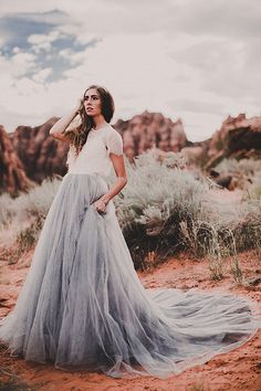 3d3273ac5199 Blue wedding dress tulle skirt Mae by Chantel Lauren at RTF Essex |Boho  Wedding Dresses