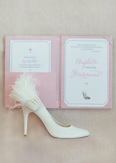 Chic bridesmaid invitation by Needle in a Haystack. Photo by Sarah Kate, Photographer #wedding #bridesmaid #invitation #pink #shoes
