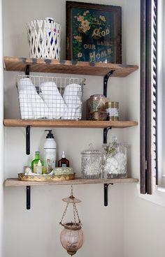 Rustic storage for bathroom necessities
