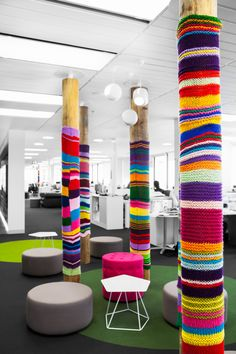 Mediacom | The Bold Collective | Office installation, knitted graffiti, sock poles, breakout, informal meeting