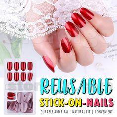 Reusable Stick-On-Nails – Geekaaget Stick On Nails, Glue On Nails, Coffin Nails Ombre, Clean Nails, French Tip Nails, Artificial Nails, Nail Art Hacks, Fabulous Nails, Nail Decorations