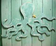 Octopus Wall Art Sign Beach House Decor