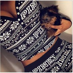 0048155f15a Leisure V Neck Long Sleeves Printed Black Polyester Two-piece Pants Set  Victoria Secret Pajamas