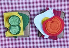 I like fabric food better than plastic food! Felt Crafts, Fabric Crafts, Sewing Crafts, Kids Play Food, Sewing Machine Projects, Baby Quiet Book, Felt Food, Upcycled Crafts, Diy Crafts For Kids