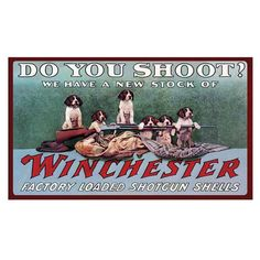 """Hunting themed, """"We have a new stock of Winchester factory loaded shotgun shells"""" with a group of Spaniels standing guard over the ammo. Winchester Rifle brand area rugs are colorful and functional. T"""