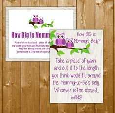 Owl How Big Is Mommy's Belly Game in Purple, Printable Baby Shower Mommys Belly Game, Neutral Owl Theme, Instant Download