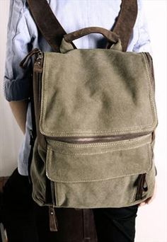 Genuine leather and Canvas Backpack Bag - Army Green