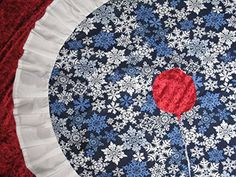 SPARKLED Christmas Blue White Snowflakes Round Tree Skirt With Ruffle -- For more information, visit image link.