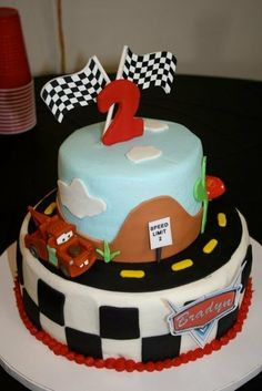 Cars the movie Birthday cake - 2 tiered cars birtrhday cake for 2 year old little boy named bradyn