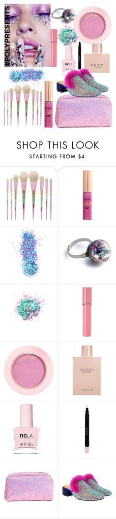 """""""#PolyPresents: Sparkly Beauty"""" by sevil609a ❤ liked on Polyvore featuring beauty, In Your Dreams, The Gypsy Shrine, Lancôme, Gucci, ncLA, Laura Geller, Christian Louboutin, contestentry and polyPresents"""