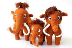 Mammoths knit family knitted toys mammoths от KnittedToyPets