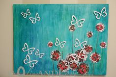 Olive and Love: 3D Canvas Art with Butterflies and Scrapbook Flowers