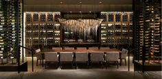 """""""HOK's Rosewood Abu Dhabi and Jewel Suite by Martin Katz at The New York Palace have won Gold Key Awards, a top design honor in the hospitality industry. Hotel Lobby Design, Home Design, Caves, Home Wine Cellars, Rosewood Hotel, Wine Cellar Design, Wine Display, Wine Wall, In Vino Veritas"""