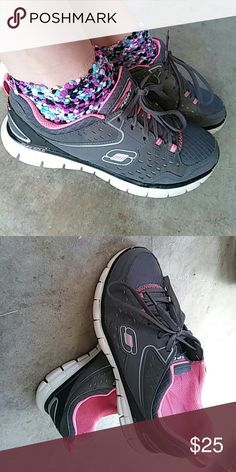 Skecher's Sport Skechers sport. Ladies. Gray, pink, white. Gray laces. Running shoes. Skechers Shoes Athletic Shoes