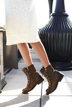 Jaq Boot | Free People An edgy take on the work boot, these Italian leather ankle boots feature dual side zips.