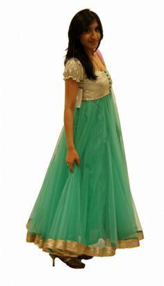 Marine blue long, floor-length anarkali with silver and gold sequins yolk and border