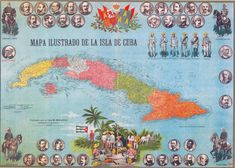 illustrated map of cuba Havana Nights Party Theme, Map Of Cuba, Viva Cuba, My Roots, Havana Cuba, My Heritage, Beautiful Islands, Key West, Cuban