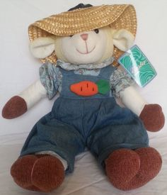 NWT Easter Gardener Sheep Plush 18in Lamb Overalls Spring #Walmart