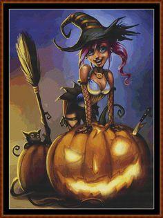 Halloween Preparations Cross Stitch
