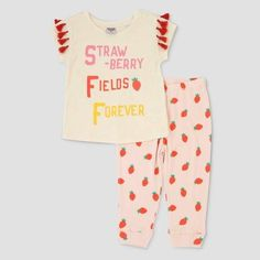 ad51d88f Junk Food Toddler Girls' The Beatles Strawberry Fields Short Sleeve Tassel  T-shirt and Leggings Set - Pink : Target