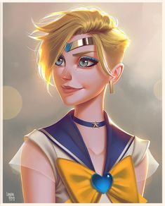 And here is Uranus (no pun intended... xD) There's still Chibi Moon, but I'm thinking about ending the series here. What do you think? Would it be TOO incomplete without Chibi Moon? #illustration #sailormoon #sailorscout #sailoruranus #harukatenoh #fanart #digitalart #digitalpainting