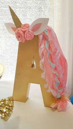 Unicorn Letter Unicorn ONE Birthday Decorations Unicorn.But with the lwtter L. Party Unicorn, Unicorn Themed Birthday, Unicorn Baby Shower, Unicorn Ears, Unicorn Birthday Parties, Birthday Party Decorations, Birthday Ideas, 5th Birthday, Happy Birthday