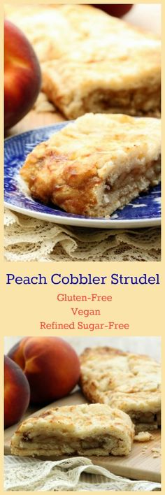 Nutritionicity Recipe: Peach Cobbler Strudel (Gluten-Free, Vegan/Plant-Based) A delicate balance between the fresh flavors of summer and the cozy comforts of the holidays, this Peach Cobbler Strudel is a winner from the first ingredient to the last bite Gluten Free Peach, Best Gluten Free Recipes, Gluten Free Sweets, Vegan Sweets, Gluten Free Baking, Vegan Desserts, Whole Food Recipes, Vegetarian Recipes, Cooking Recipes