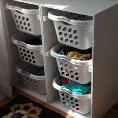Laundry Basket storage for the Laundry Room.  Just finished building and installing.