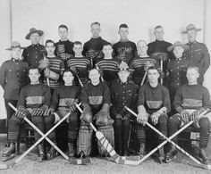 """Royal Canadian Mounted Police hockey team, """"A"""" Division, ca. 1930"""