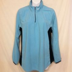 Warm Light Blue Fleece Pullover Baby blue and black Nike Fit long sleeve fleece pullover. Zip up collar. Black spandex panel under each arm and on each side. Please ask if you have questions. Nike Jackets & Coats