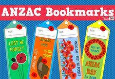ANZAC Day - Bookmarks :: Teacher Resources and Classroom Games Australia Crafts, Australia Day, Anzac Poppy, Australian Holidays, Poppy Craft, Classroom Games, Classroom Ideas, Anzac Day, Remembrance Day