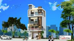 Building Front, Building A House, Multi Story Building, House Elevation, Front Elevation, Modern Design, Commercial, Exterior, House Design