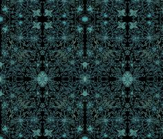 Black Turquoise Floral Damask fabric by palusalu on Spoonflower - custom fabric