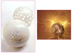 'Moonstruck' hand made table lamps by Feinedinge, Vienna-Hmm...glass porchlight globe, sticky dots, and spray paint?