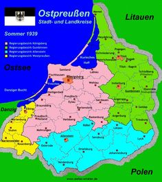 Kreise in Ostpreußen. Districts in East Prussia Dna Genealogy, Family Genealogy, Family History, Art History, The Rocks Sydney, Imaginary Maps, Frederick The Great, Bible Mapping, Alternate History