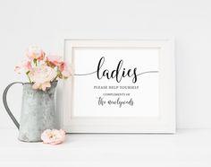 Ladies Wedding Bathroom Sign Bathroom Basket Sign Ladies