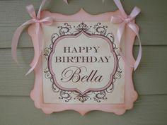 Pink Birthday Girl Door Sign Vintage Styled by EllenasPaperHouse, $15.00