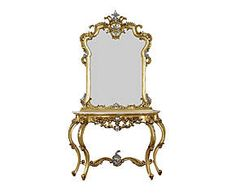 Consolle in mogano e marmo con specchio Claudine - 136x89x42 cm